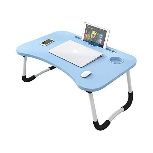 Candora Bed Table,Laptop Tables,Dorm Small Table,Bed with Laptop Table,Folding Table,Breakfast Tray Reading Stand Desk with Cup Slot (Blue)