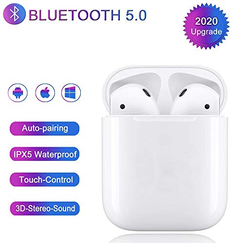 Bluetooth 5.0 Headset Earbuds Headphones Built-in Microphone and Charging Box,3D high-Definition Stereo Noise Reduction,Pop-ups Auto Pairing for Airpods Android/iPhone/Samsung
