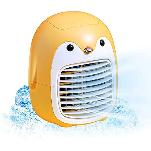 yanzz Ventilador de Aire Acondicionado portátil, Lindo pingüino Espacio Personal Mini evaporativo, silencioso Ventilador de nebulización humidificador de 3 velocidades para Oficina, hogar, habitac