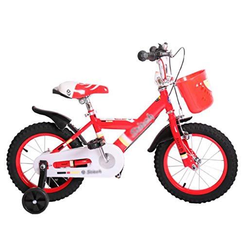 LDDLDG - Bicicleta infantil con ruedas de apoyo para niños de 3 a 9 años, con rueda de apoyo y cesta para bicicleta infantil de 12 a 14 pulgadas y 16 pulgadas (color: rojo, tamaño: 14 pulgadas)