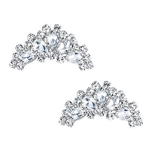 EVER FAITH® Femme Bijoux de Chaussures Boucle Clip Amovible Accessoire Goutte d'eau Floral Cristal Autrichien Fond d'argent Clair