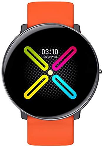 Reloj inteligente Utra-Thin para hombre 2021 termómetro para mujer, reloj inteligente de ritmo cardíaco, registro meteorológico, pulsera de 1,3 pulgadas, color naranja