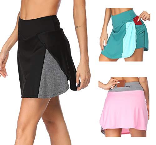 COOrun Falda de Tenis para Mujer, Minifalda Corta con Bolsillos Interiores para Pantalones, Falda de Fitness para Yoga, Falda para Mujer, niñas, Golf, Tenis