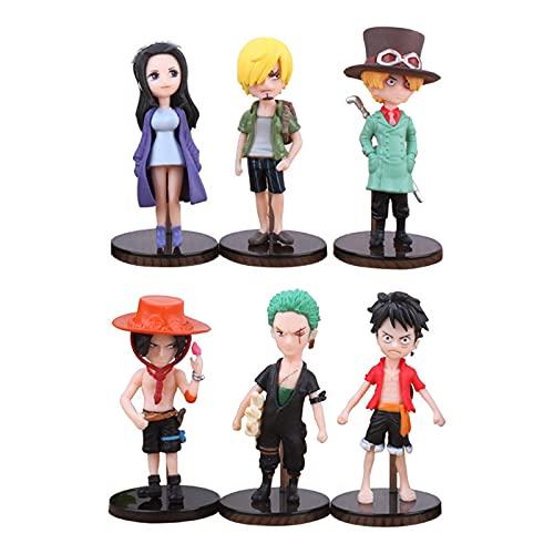 ioth 6pcs Personaje de acción One Piece Series Sabo Monkey D. Luffy Decoración Modelo de Regalo Cómic Party Decoración 8cm