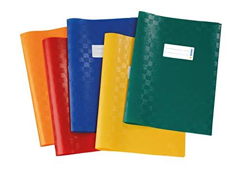 HERMA 20209 - Busta per quaderni DIN A4, confezione da 5 pezzi, con struttura in rafia ed etichetta etichetta, in pellicola di polipropilene resistente e lavabile, 5 copertine per quaderni scolastici