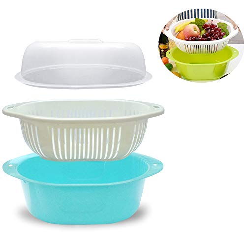 3 in 1 Dish Tub and Colander Set with Lid, Vegetable Washer with Bowl, Dishpan Strainer Basket Lettuce Washer and Dryer - Water Drain and Compact Storage(Blue)