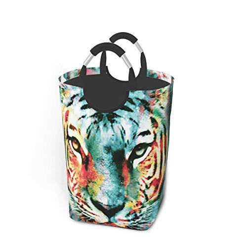 Cestas de almacenamiento con estampado de tigre animal Cesto flexible para ropa sucia Bolsa organizadora ecológica Carro clasificador extraíble Lugar seguro para el dormitorio Apartamento Lavandería L