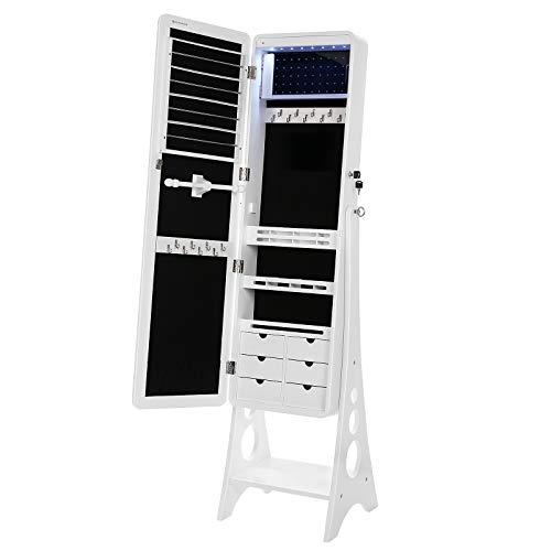 SONGMICS Schmuckschrank mit 8 LEDs mit abgerundeten Kanten Spiegel, abschließbarer Schmuckorganizer mit 6 Schubladen und Ohrring Aufbewahrung, Weiß JBC89WT