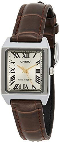Casio LTP-V007L-9B Women's Rectangular Leather Strap Roman Gold Dial Dress Watch