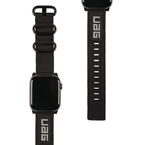 Urban Armor Gear NATO Eco Armband für Apple Watch 38mm / 40mm (Watch SE, Series 6 / Series 5 / Series 4 / Series 3 / Series 2 / Series 1, Nylon Ersatzarmband aus recycelten PET-Flaschen) schwarz