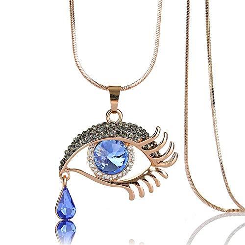 Yuhualiyi123 Damen Halskette, Mode Magisches Auge Crystal Tear Drop Wimpern Halskette Das Geschenk Der Langen Strickjacke-Kette Valentinsgrußes Frau (Color : Water Blue)