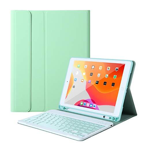 QYiD Funda con Teclado para iPad Mini 5/ Mini 4, Funda con Teclado Bluetooth Inalámbrico Desmontable para iPad Mini 5 2019(5th Gen)/ iPad Mini 4 2015, con Ranura para Lápiz, Verde