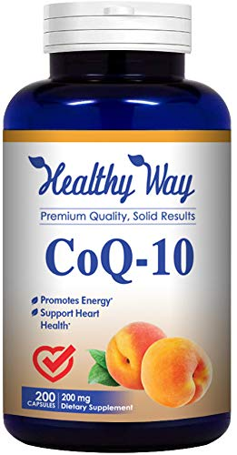 Healthy Way Pure CoQ10 200mg 200 Capsules Supports Healthy Heart & Healthy Blood Pressure - Non-GMO USA Made