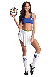 3. Blue Cheerleader Outfit – Sexy Soccer Player Costume Women Football Musical Fancy Dress Uniform Skirt –