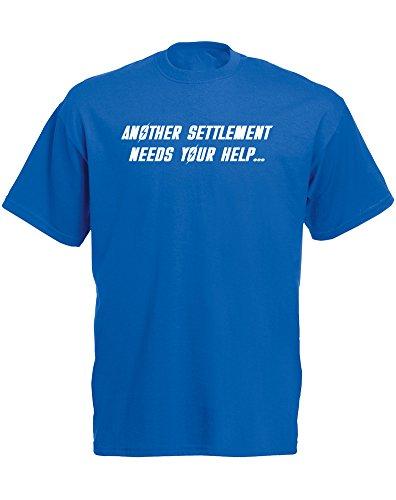 "Brand88 - Camiseta de manga corta para hombre, diseño con texto en inglés ""Another Settement Needs Your Help"", color azul y blanco"