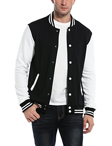 COOFANDY Men Fashion Long Sleeve Button Front Cotton Bomber Baseball Jacket(Black,Small)
