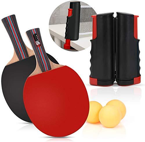 AOIO Einziehbares tragbares Tischtennisnetz Ping-Pong-Paddel-Kit Erweiterbares Teleskop-Tischtennis-Sportzubehörset für Spiele im Innen- und Gartenbereich