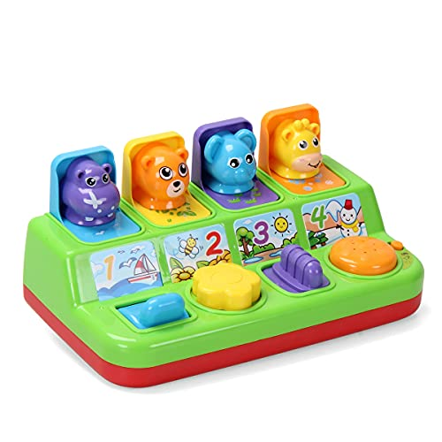 Interactive Pop Up Animals Toy with Light, Music, Animal Sound