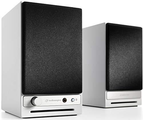 Audioengine HD3 60W Kabellose Aktiv-Desktop-Lautsprecher   Eingebauter USB 24-Bit DAC & Analogverstärker   aptX HD Bluetooth, USB, Cinch und 3,5 mm-Klinken-Eingänge   Kabel inklusive (Weiß)