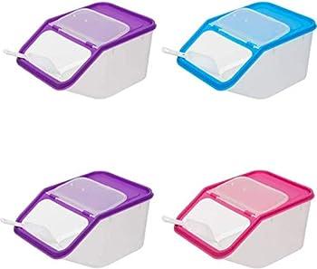 Grande boîte de conservation Nourriture sèche avec pelle Plastique Distributeur de céréales pour animal domestique rose