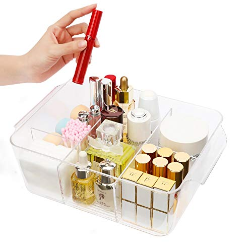 Kcakek Desktop cosmetische opbergdoos kaptafel transparante multi-functionele Grid Afwerking Rack Simple stofdicht Rack Cosmetische Storage In badkamer en slaapkamer