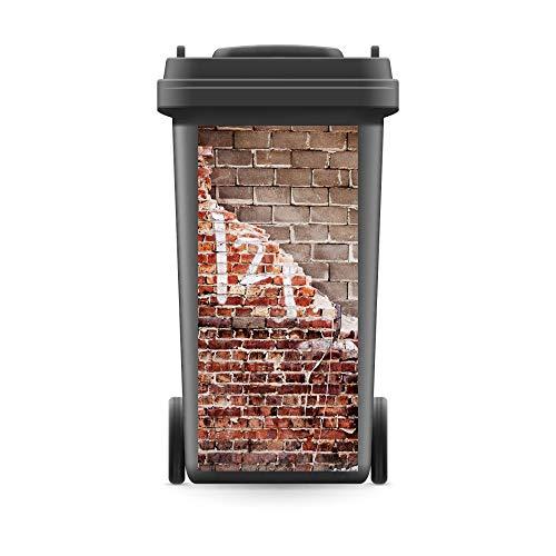 WERBEPUNKT. Mülltonnenaufkleber Mülltonne Mülleimer Abfalltonne Mauer Ziegelsteine Wand - 720 x 320 mm