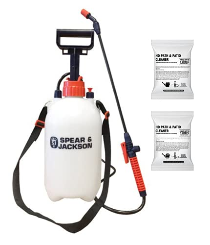 Spear and Jackson - 2 x 100ml Path and Patio Cleaner sachets - 5L Pressure Sprayer - Super Concentrated Patio Cleaner - Biodegradable - Makes up to 5L per sachet