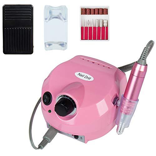 Herramienta de manicura de máquina de pulido de uñas eléctrica profesional para salón de manicura y hogar taladro eléctrico máquina de pulido 30000 RPM Rosa