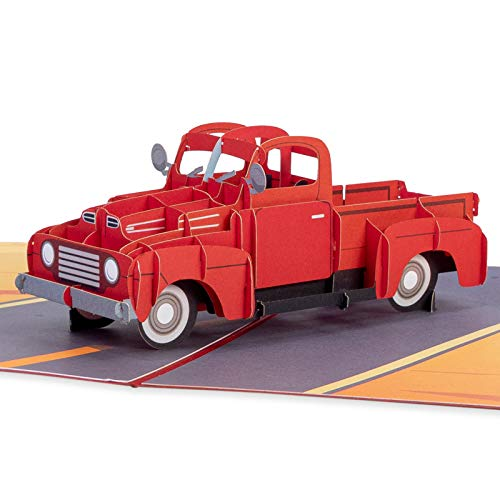 Paper Love Classic Truck Pop Up Card, 3D Popup Greeting Cards, for Fathers's Day, Birthday, Graduation, Thinking of You, Just Because, All Occasion
