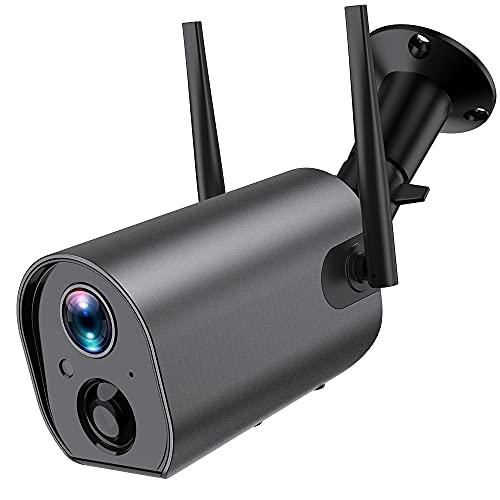 Überwachungskamera Aussen WLAN Akku - FHD WiFi IP Kamera Außen mit 10400mAh Batterie,PIR Bewegungsmelder, Zweiweg-Audio, 50m IR Nachtsicht,Wasserdichtes,Push Alarme,Cloud/SD Storage