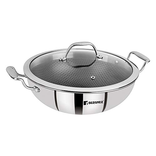 BERGNER Hitech Prism Non-Stick Stainless Steel Kadai with Glass Lid,...