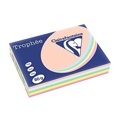 Clairefontaine 1703C Druckerpapier Trophée, für alle Laserdrucker, Kopierer und Tintenstrahldrucker, DIN A4 (21 x 29,7 cm), 80g, 1 Ries mit 500 Blatt, Pastell sortiert