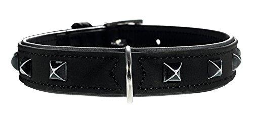 HUNTER SOFTIE KAIRO Hundehalsband, Kunstleder, mit pyramidenähnlichen Applikationen, 45 (S-M), schwarz