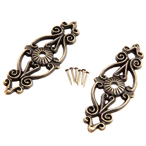 DUO ER 2Pcs 63x24mm Antique Decorative Corner Bracket for Furniture Wooden Box Feet Corner Protector Furniture Fittings with Screw
