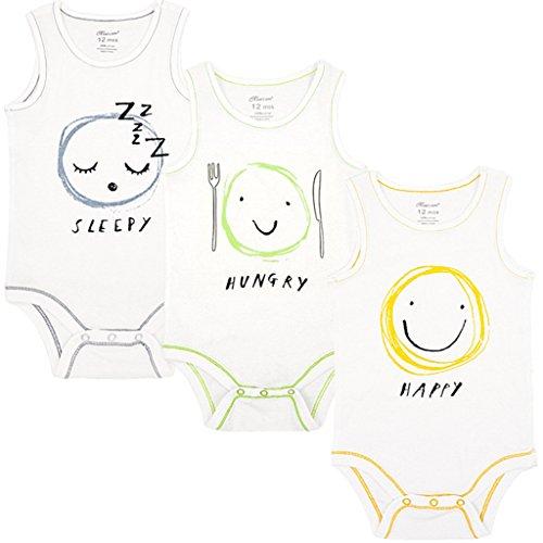 Shenzhen Windy Trading Co.,Ltd Baby Achselbody im 3er Pack Unisex Baumwolle Babybody ohne Arm