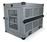 Extra Large Folding Dog Crate Deluxe - Collapsible Travel Carrier with Reinforced Construction