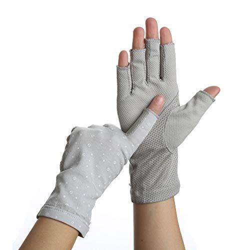 Women Summer Fingerless Gloves UV UPF 50+ Sun Protection Driving Outdoor party (F dot gray grey)