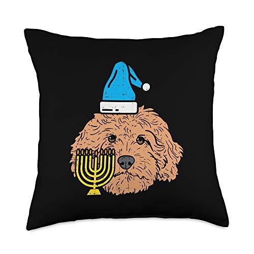 BoredKoalas Hanukkah Pillows Jew Chanukah Gifts Goldendoodle Menorah Jewish Animal Pet Dog Hanukkah Gift Throw Pillow, 18x18, Multicolor