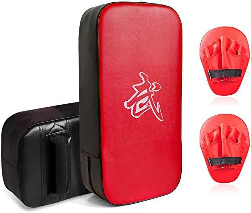 CYFIE 2-In-1 Punching Mitts and Boxing Mitts, Boxing Pads Target Kick Pad Hand Pads Karate Kick Pads kicking strike Shield for Boxing, Kickboxing, Karate, Taekwondo, Muay Thai, MMA Training (4PCS)