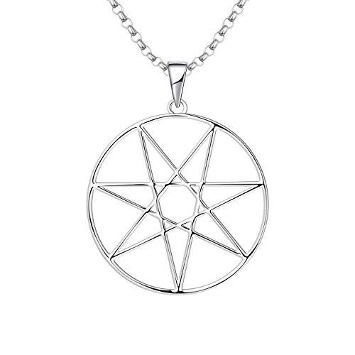 JO WISDOM Collar de Heptagrama Plata de ley 925 con Colgante de Estrella de Siete Puntas con cadena, Joyería para Mujeres y niñas