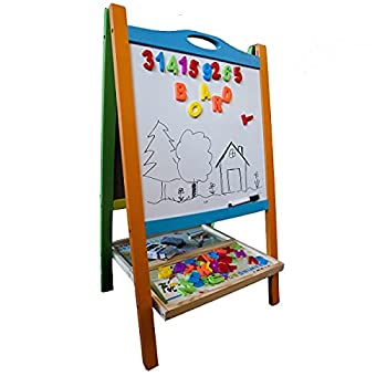 Elk & Bear Double Sided Wooden Art Easel for Kids Standing Magnetic Whiteboard Chalkboard Small Toddler Toys Includes Wooden ABC Numbers Eco Friendly Lifetime Replacement Guarantee