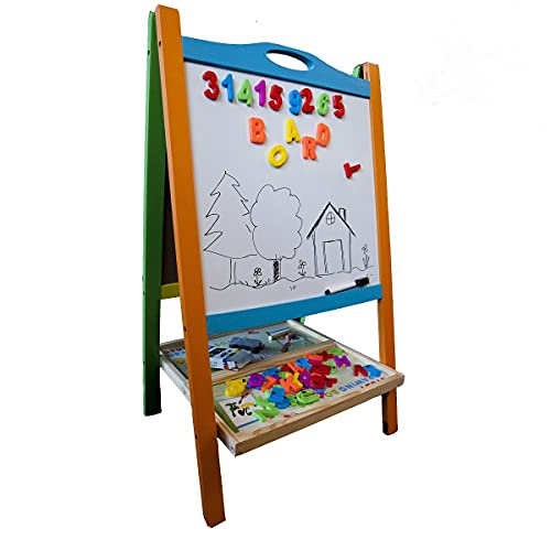 Elk & Bear Double Sided Wooden Art Easel for Kids Standing Magnetic Whiteboard Chalkboard Small Toddler Toys. Includes Wooden ABC Numbers. Eco Friendly Lifetime Replacement Guarantee