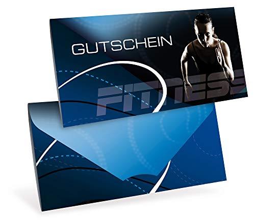 Gutscheinkarten (10 Stück) - Geschenkgutscheine für Sport, Wellness, Sportstudio - DIN lang Faltkarte verschließbar, blanko Vordruck zum Eintragen der Werte