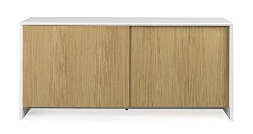 TENZO 5932–454 Profil Designer Buffet 2 Portes coulissantes, Blanc, Structure MDF laqués. Façades en Panneaux de Particules recouverts de placage chêne Naturel, 80 x 173 x 47 cm (HxLxP)