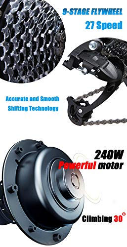 41l5SmyC7NL - MDDCER Elektrisches faltbares Mountainbike - Erwachsene Doppelscheibenbremse und vollgefederte Fahrräder, (90 km 48 V 14,5 Ah 400 W) E-Bike mit intelligentem LED-Messgerät, 27-Gang