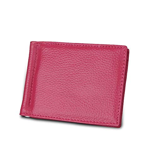 JIUYAODIANZI Mens Bags for Work Men's Wallet US Dollars Clip Card Package The First Layer of Leather Banknotes Folder Anti-RFID Anti-Theft Brush Travel Best Choice Men's Bag (Color : Rosy, Size : S)