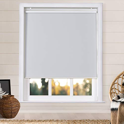 Frelement Roller Shades for Window Cordless Blackout Custom Made Roller Shades UV Protection Fabric Install Hardware Included for Home, White, 1 Piece
