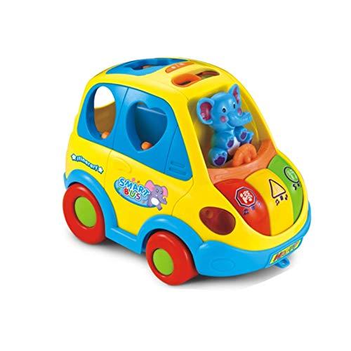 LINANNAN Dibujos Animados Elefante Bus Electric Car Toy Music Forma Distribución Percepción del TRÁFICO DE Coche 0-1-2 AÑOS Movimientos Fine 22 * 15 * 15 CM Aficiones Infantiles