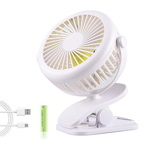 USB Ventilator Mini Clip Fan mit Batteriebetrieben 3 Geschwindigkeit und 360 Grad Drehung Tischventilator zum Schreibtisch, Kinderwagen, Rollstuhl, Schlafzimmer, Camping,Zuhause, Büro