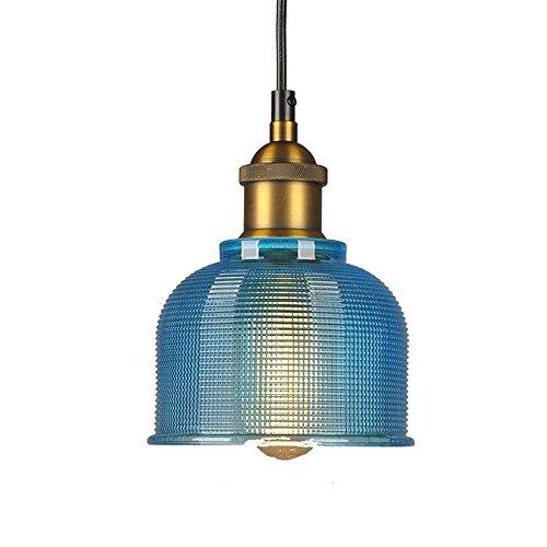 LFsem Luce pendente industriale vintage in vetro colorato Lampada da soffitto E27 Loft Lampada a sospensione Illuminazione per ristoranti Bar (Blu)